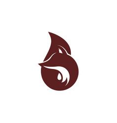 Abstract head tail fox flat shadow logo symbol vector