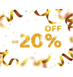 Banner 20 off with share discount percentage gold vector