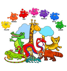 basic colors educational page with animals vector image