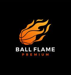 basket ball fire flame logo icon vector image