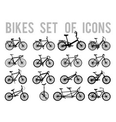 Bicycle or different types of bicycle icons thin vector