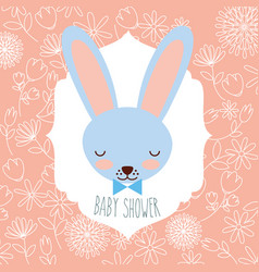 Blue rabbit head baby shower label vector