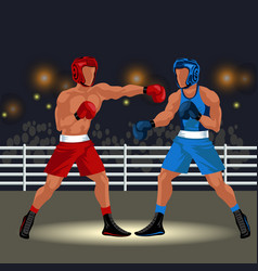 boxing match in ring flat poster professional vector image