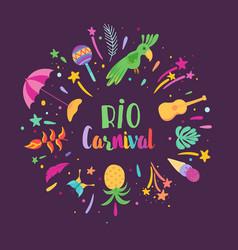 brazilian carnival festive elements vector image