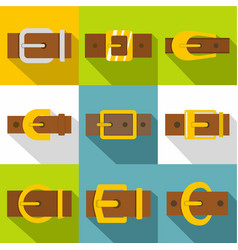 Buckle icons set flat style vector