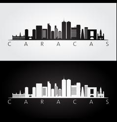 caracas skyline and landmarks silhouette vector image
