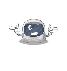 Cartoon astronaut helmet with funny wink eye vector