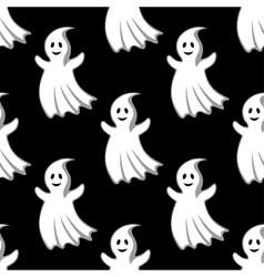 Cartoon uggly ghosts and monsters seamless pattern vector image