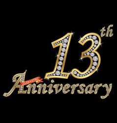 celebrating 13th anniversary golden sign with vector image