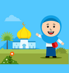cheerful girl moslem student in front mosque vector image