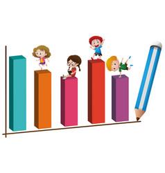 children and big bar chart vector image