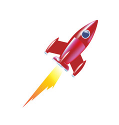 Children rocket soaring up launch of space vector