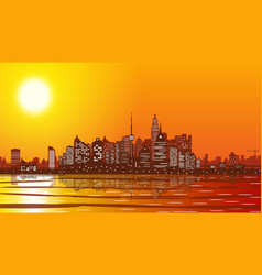 City skyline silhouette at sunset vector