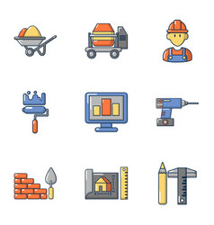Civil icons set cartoon style vector