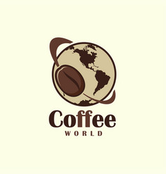 Coffee bean symbol flying around the earth vector