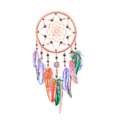 Colorful dreamcatcher and feathers isolated on vector
