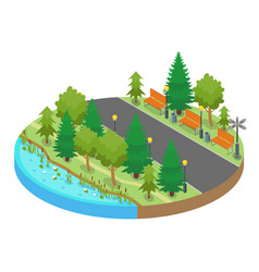 Colorful isometric round map location with park vector
