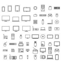 Computer icons from thin lines vector
