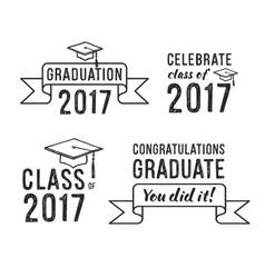 Congratulations graduate 2017 graduation set vector