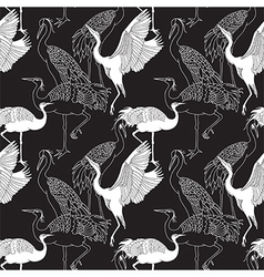 Cranes birds seamless pattern vector