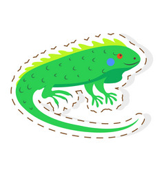 Cute iguana cartoon flat sticker or icon vector