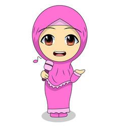 Cute muslim children - singing fun daily vector