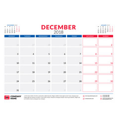 December 2018 calendar planner design template vector