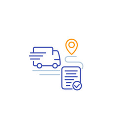 Delivery service icon transport van linear vector