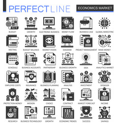 economics market black mini concept icons vector image