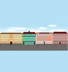 Europe city street set 6 multi-colored vector