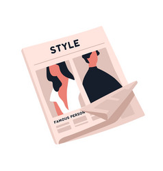 Fashion newspaper with crumpled page flat vector