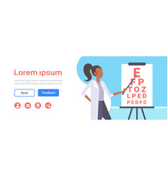female ophthalmologist checking male patient vector image