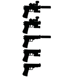 Five black handguns vector