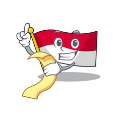 Flag monaco scroll cartoon character holding menu vector