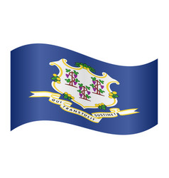 Flag of connecticut waving on white background vector