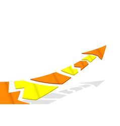 flat colored arrow on white background flying vector image