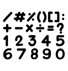 Font design for numbers and signs in black vector