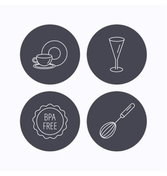Food and drink glass and whisk icons vector image