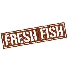 Fresh fish square grunge stamp vector