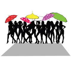 girl sexy with umbrella vector image