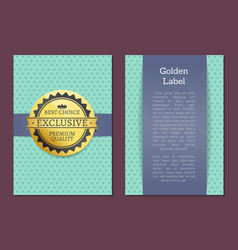 gold label reward guarantee cover design exclusive vector image