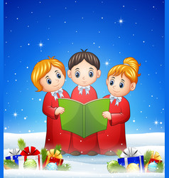 Group of children choir in the winter background w vector