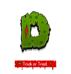 halloween green color comic horror zombie font vector image