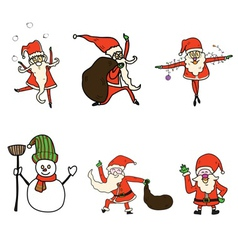 hand drawn christmas cartoon set vector image