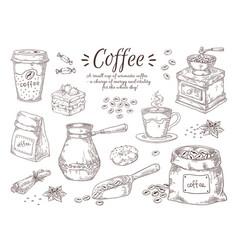 hand drawn coffee vintage italian drink vector image