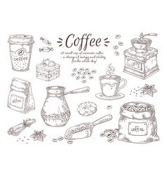 Hand drawn coffee vintage italian drink with vector