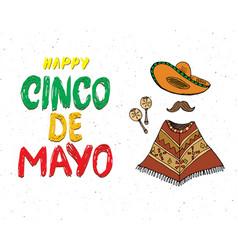 happy cinco de mayo greeting card hand lettering vector image