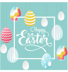 happy easter square decorative egg blue background vector image