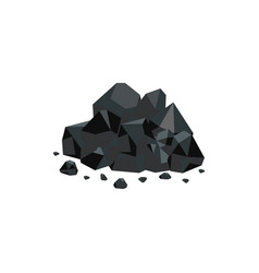 heap black coal mineral rocks flat vector image