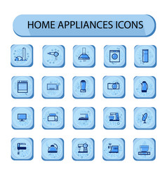 home appliances icon set web buttons collection vector image